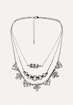 bebe Crystal 3-Layer Necklace