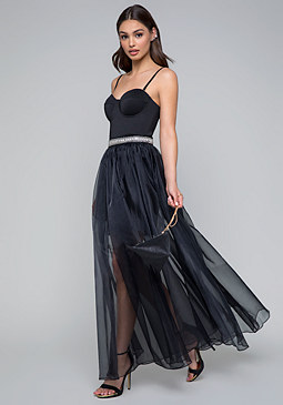 bebe Organza Strapless Gown