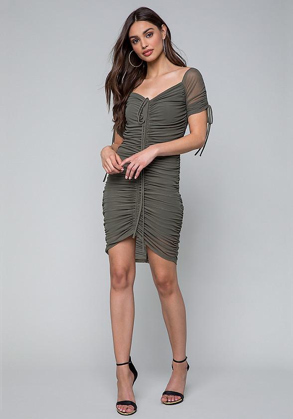 Shirred Mesh Dress