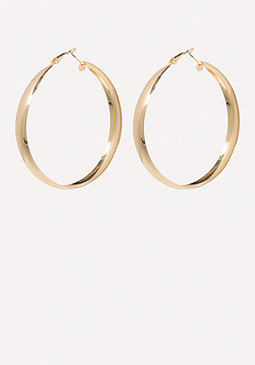 bebe Gold Wire Hoop Earrings