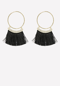 bebe Thread Fringe Hoop Earrings