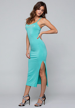 bebe Logo Braid Strap Maxi Dress