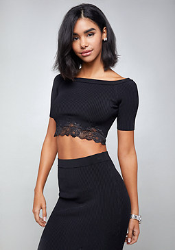 bebe Lace Trim Off Shoulder Top