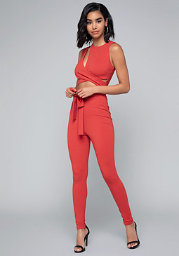 bebe Cutout Wrap Jumpsuit