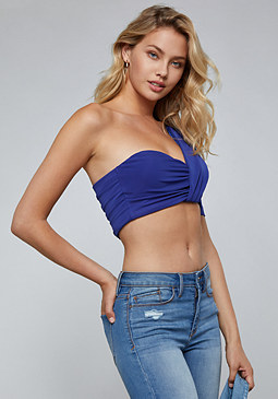 bebe One Sleeve Ruched Crop Top