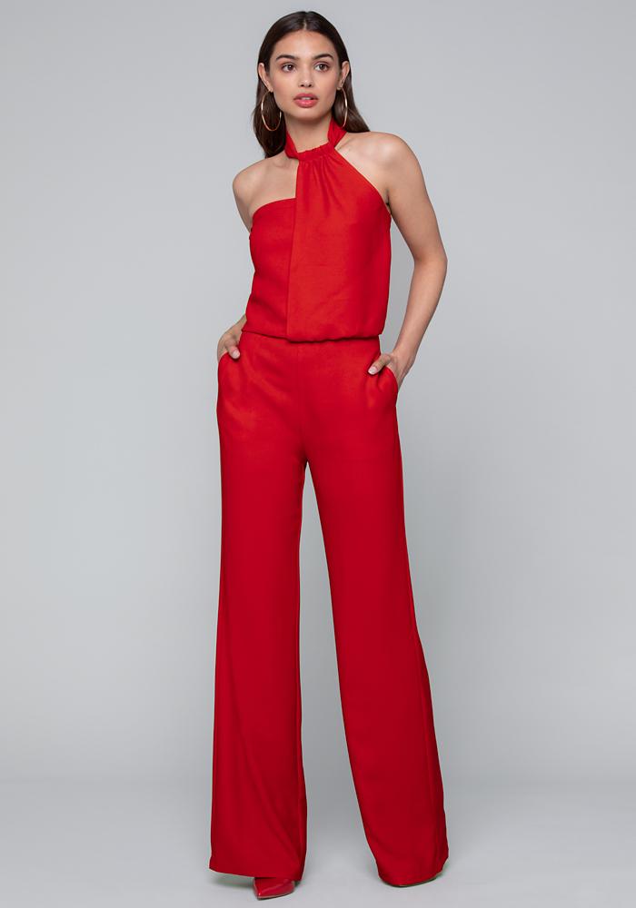 crepe-asymmetric-jumpsuit by bebe