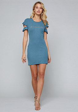 bebe Logo Ruffle Sleeve Dress