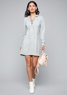 bebe Logo Lace Up Hoodie Dress