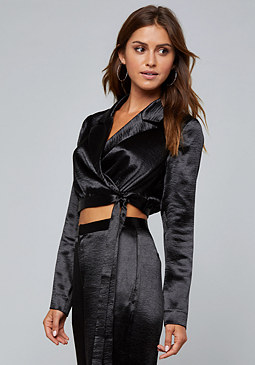 bebe Hammered Satin Wrap Top