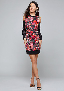 bebe Logo Print Charmeuse Dress