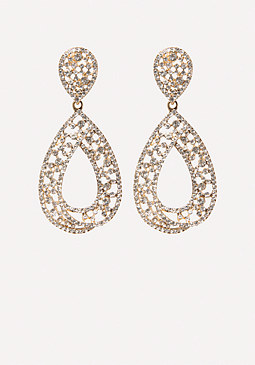 bebe Glam Open Teardrop Earrings