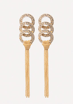 bebe Tassel Crystal Earrings