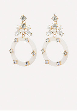 bebe Pearly Drop Hoop Earrings
