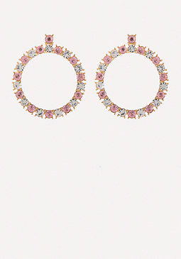 bebe Glam Crystal Hoop Earrings