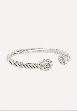 bebe Crystal Ends Twist Bracelet