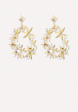 bebe Floral Hoop Earrings