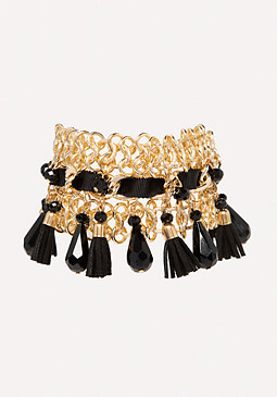 Tassel & Ribbon Bracelet at bebe