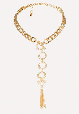 bebe Pearly Drop Chain Necklace