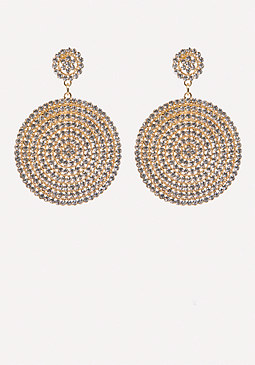 bebe Crystal Drop Disc Earrings