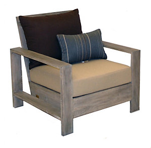 Casual Classics Havana Silver Teak Lounge Chair W/Cushion