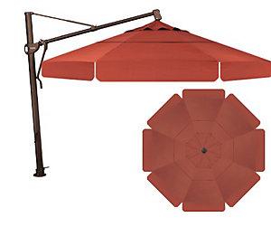 Treasure garden 13 39 cantilever with valance umbrella henna for Treasure garden cantilever umbrella 13