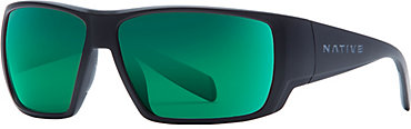 Native Sightcaster Sunglasses - Matte Black with Green Reflex Lens