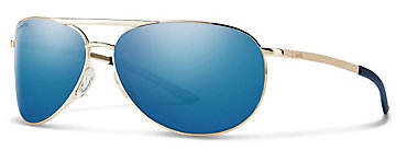 Smith Serpico Slim 2.0 Gold/ChromaPop Polarized Blue Mirror Sunglasses