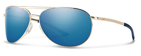 0cfc8776b7a7c Smith Serpico Slim 2.0 Gold ChromaPop Polarized Blue Mirror Sunglasses