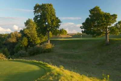 Hole 17 on the Meadow Valleys course with maple trees on each side of the green.