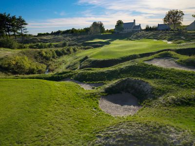 A few of the fairway of hole 18 on the Straits Course at Whistling Straits.