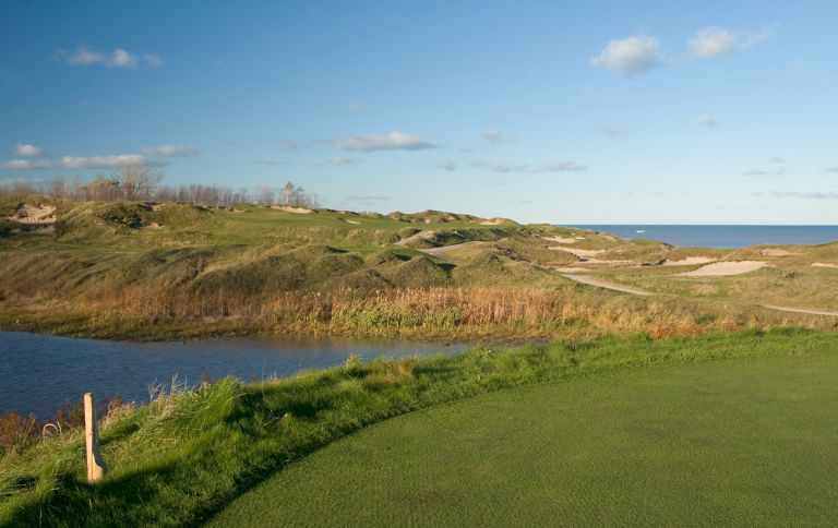 The sand bunkers near the sixth hole on the Straits Course at Whistling Straits.