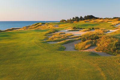 The green and flagstick of hole 16 on the Straits Course at Whistling Straits.