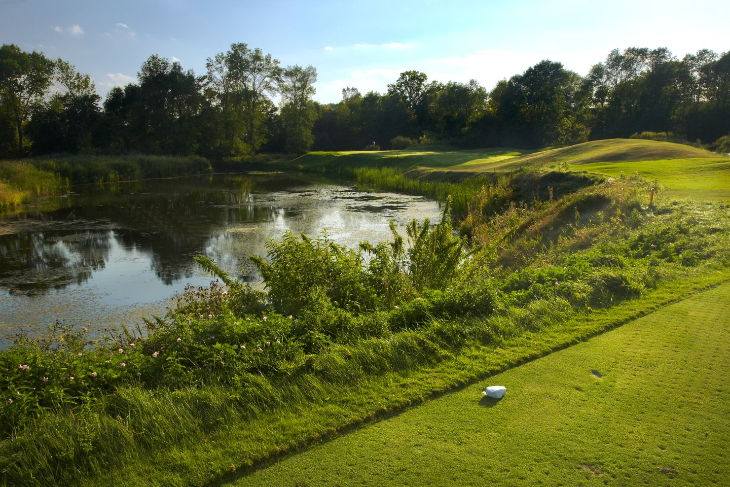 Water hazard on the left and the green of hole 17 on The River Course in the background.