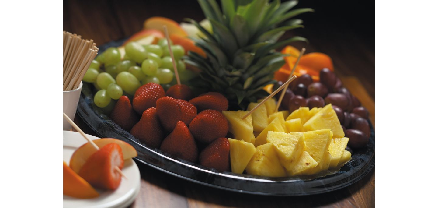 A large tray of fruit