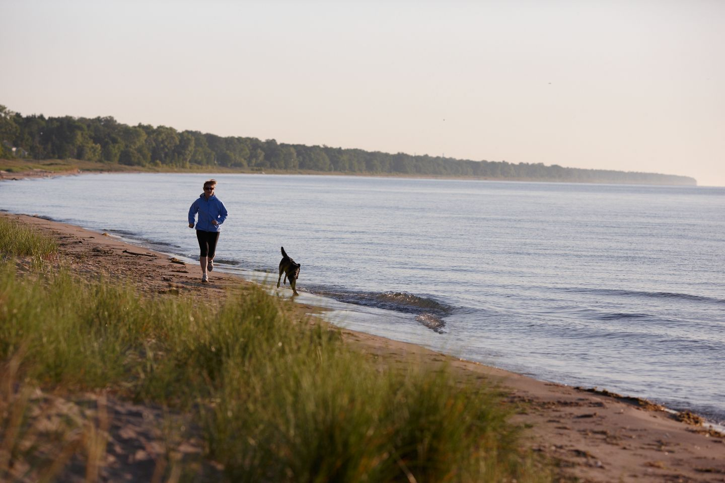 Lady running with dog on Lake Michigan beach