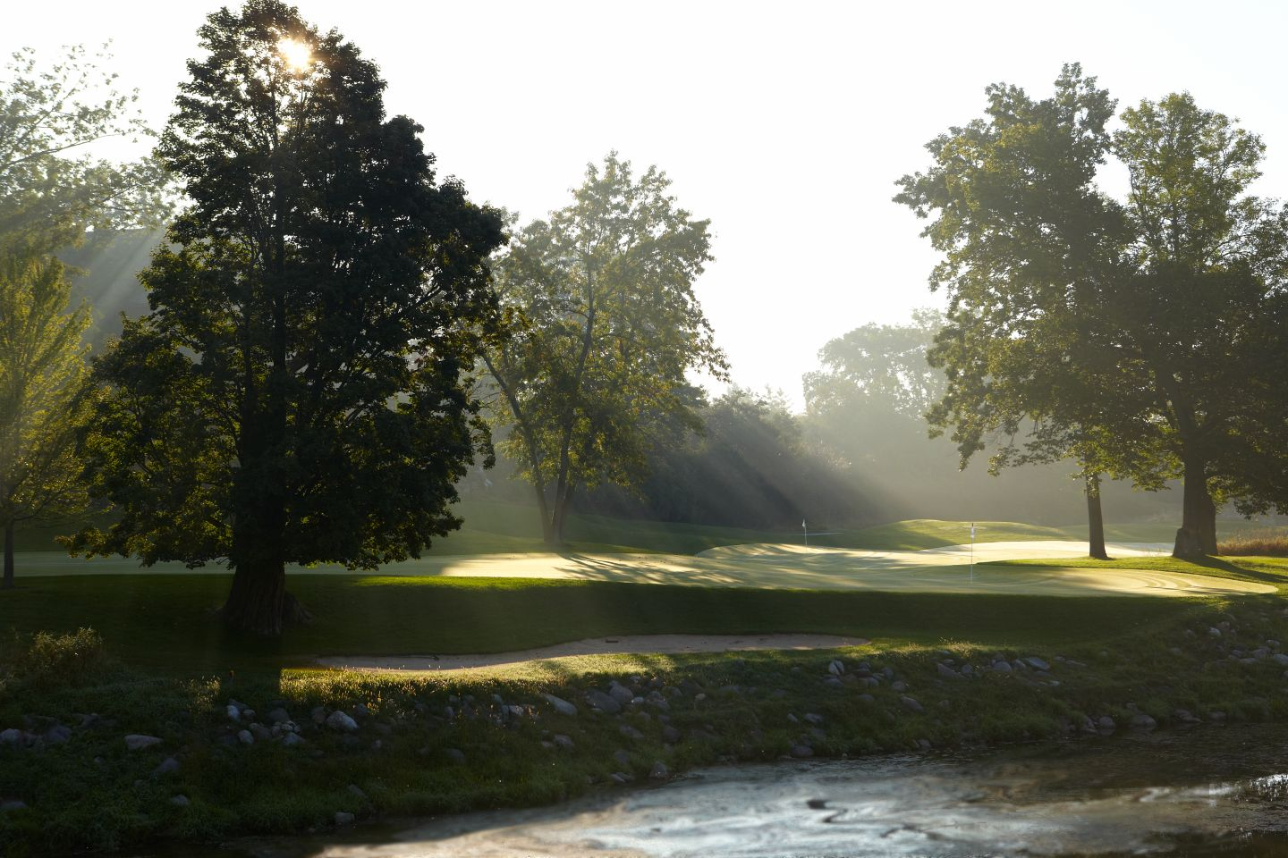 The green of hole 18 of the Meadow Valleys course with sunlight shining through trees on the left.
