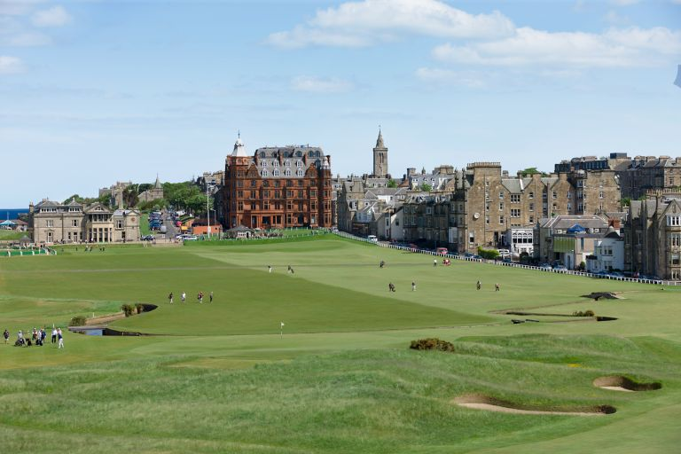 Red bricked Hamilton Grand luxury apartments sitting at the 18th green of the Old Course golf course.