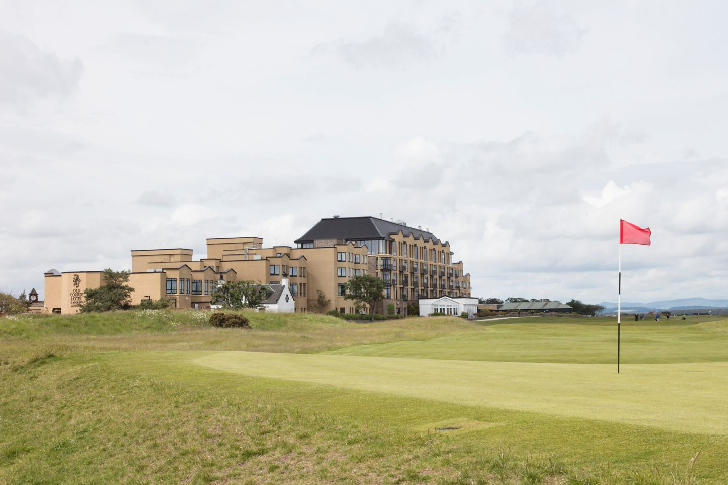 Looking over the 17th Green of the famous Old Course Golf Course towards the Old Course Hotel, Golf Resort & Spa