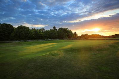 No. 12 Double Dyke. The Duke's 12th green at sunset.