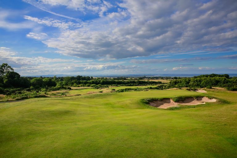 No. 13 Braw View. View across the rolling fairway to the 13th green at the Duke's golf course.