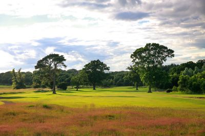 No. 17 Strath. View over a heather bank and down the 17th fairway at The Duke's golf course.