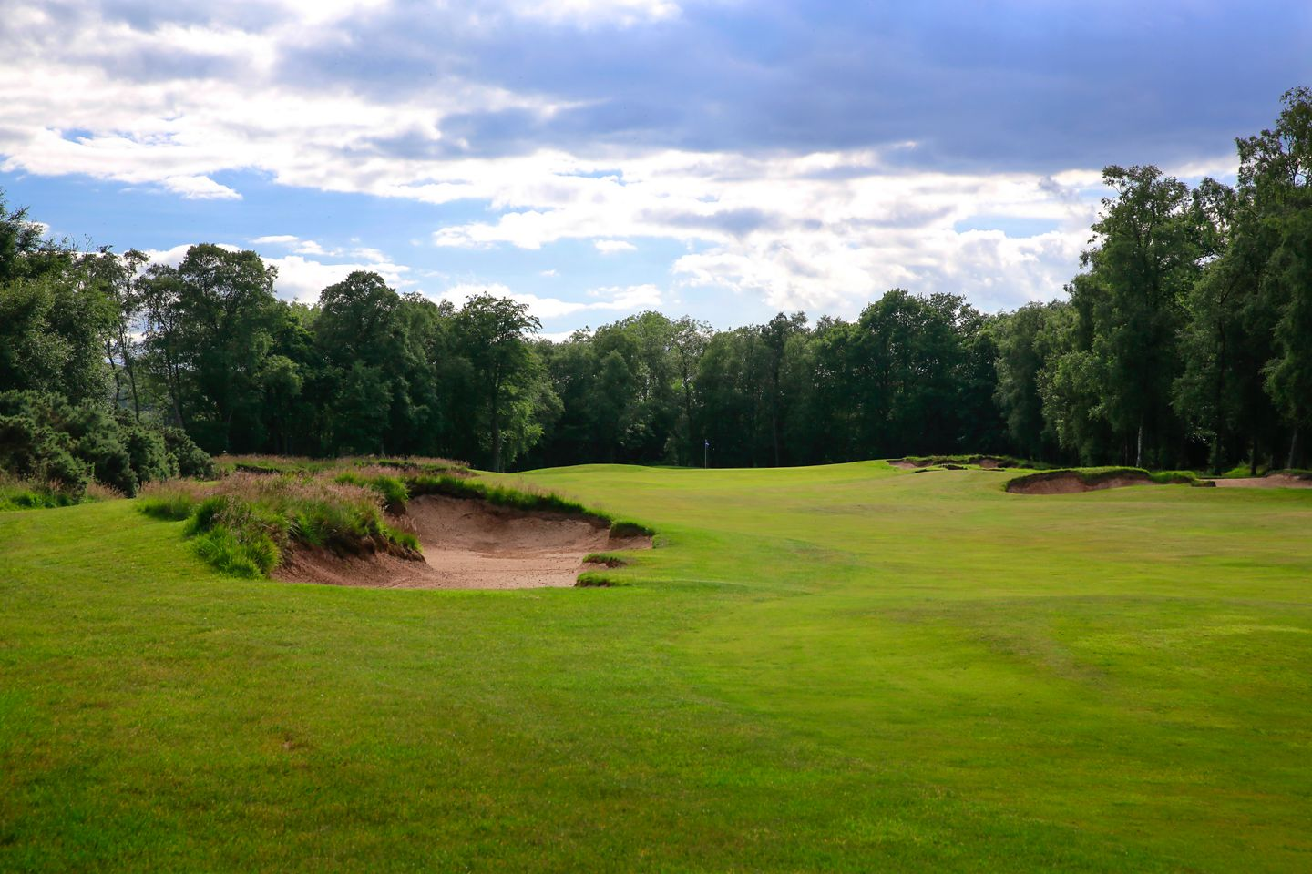 No. 2 Drumcarrow.  View over a bunker towards The Duke's 2nd hole green.