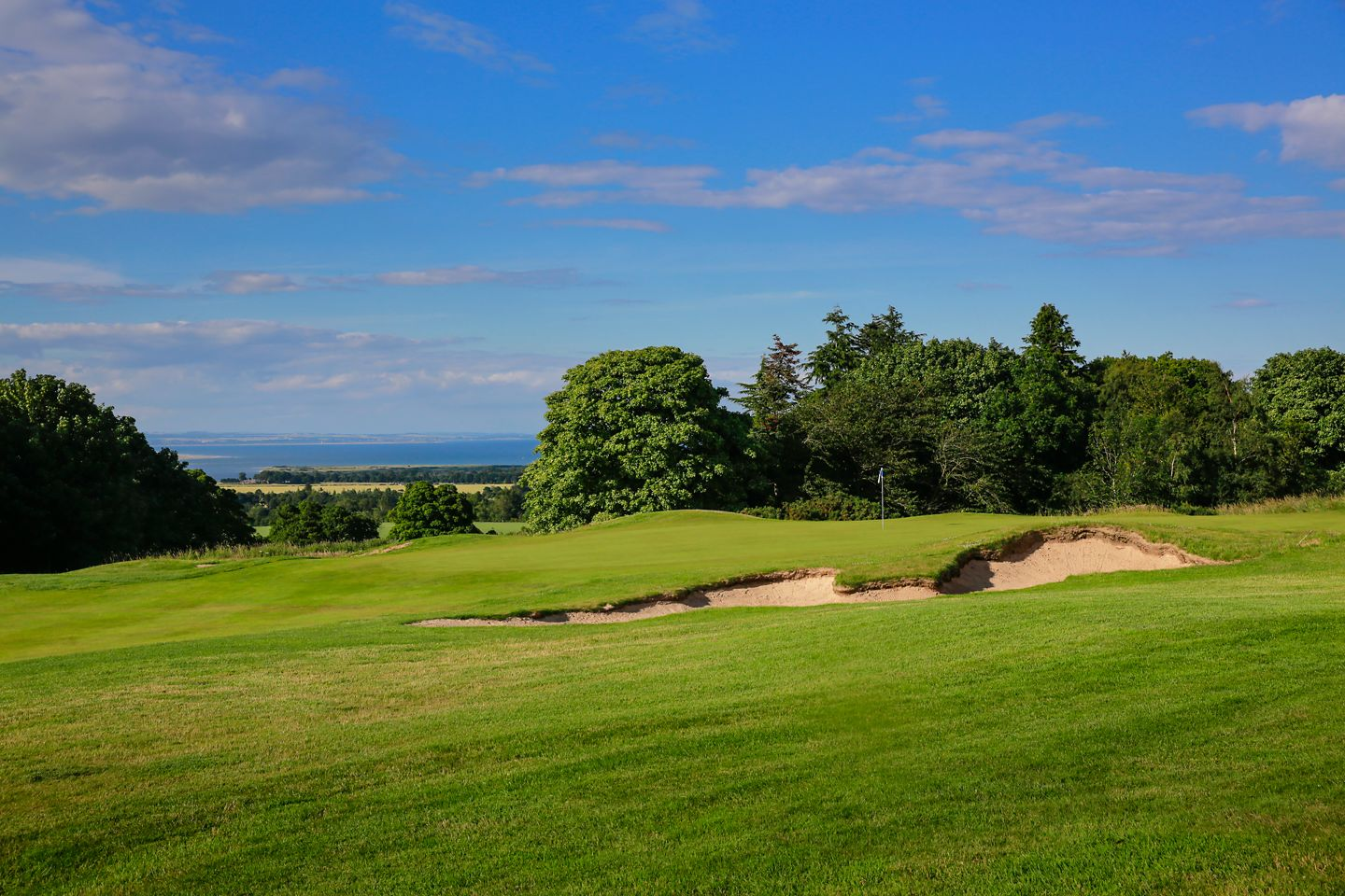 No. 6 Badgers. The Duke's 6th green from the right of the hole with the coastline visible in the background.