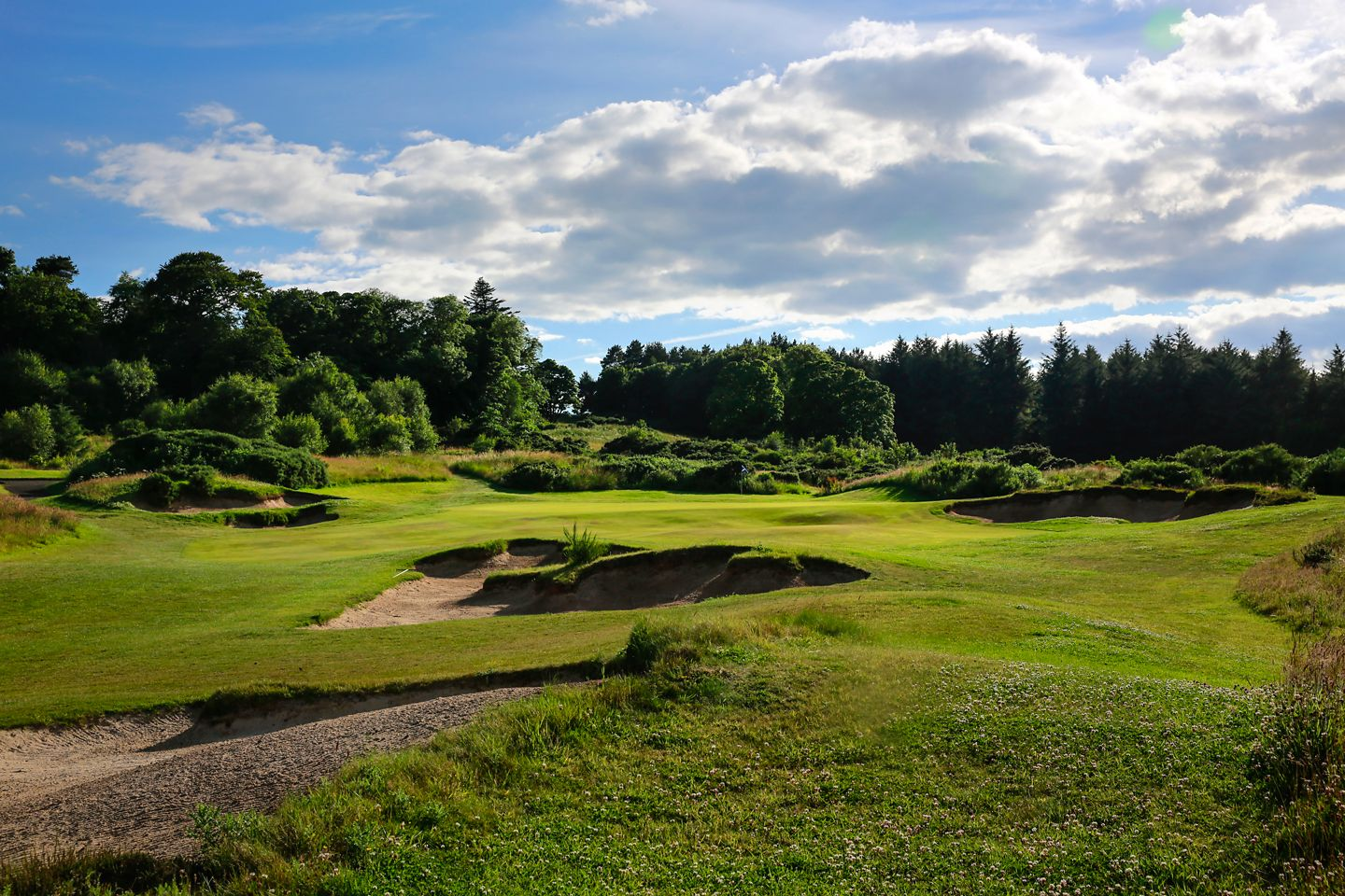 No. 8 Fair Dunt. View uphill over bunkers towards the 8th green at The Duke's golf course.