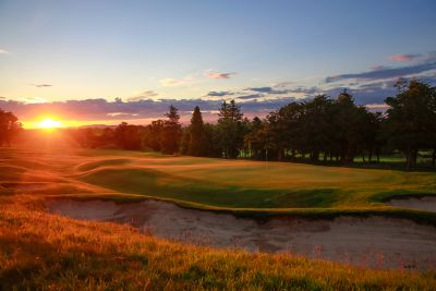 Sunset over the Duke's golf course St Andrews