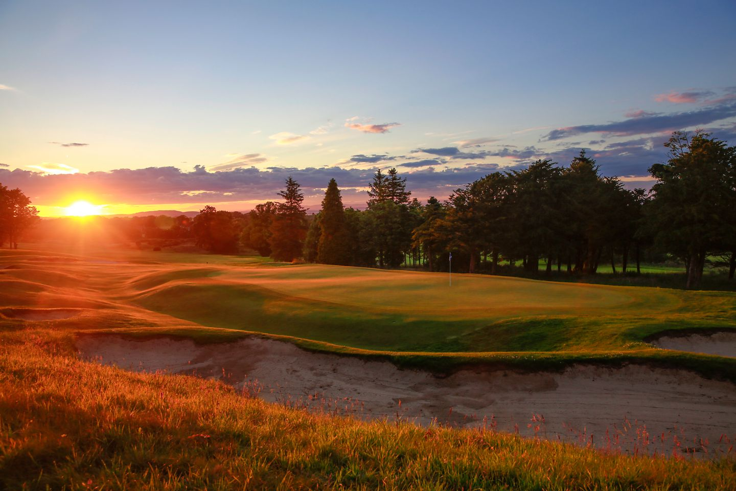 No. 9 Craigtoun. Sunset on the 9th green at The Duke's golf course.