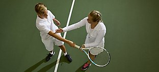 private tennis instruction with professional and student