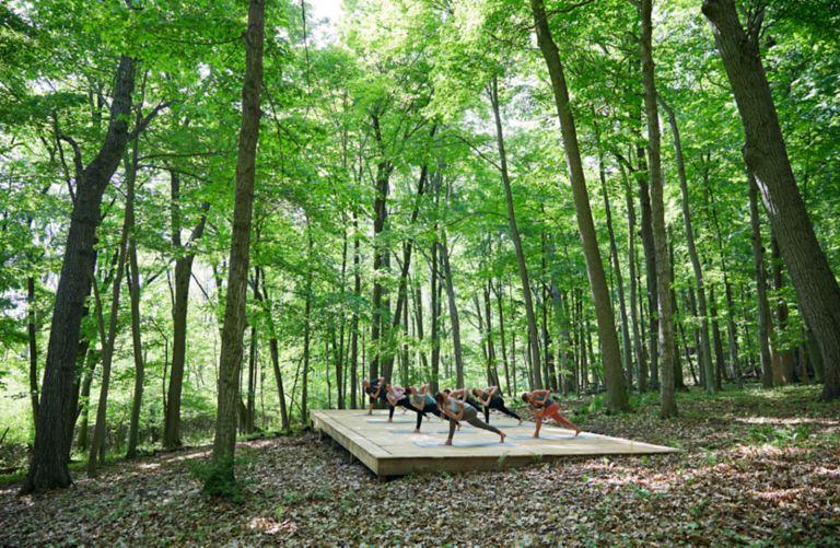 outdoor yoga at Destination Kohler