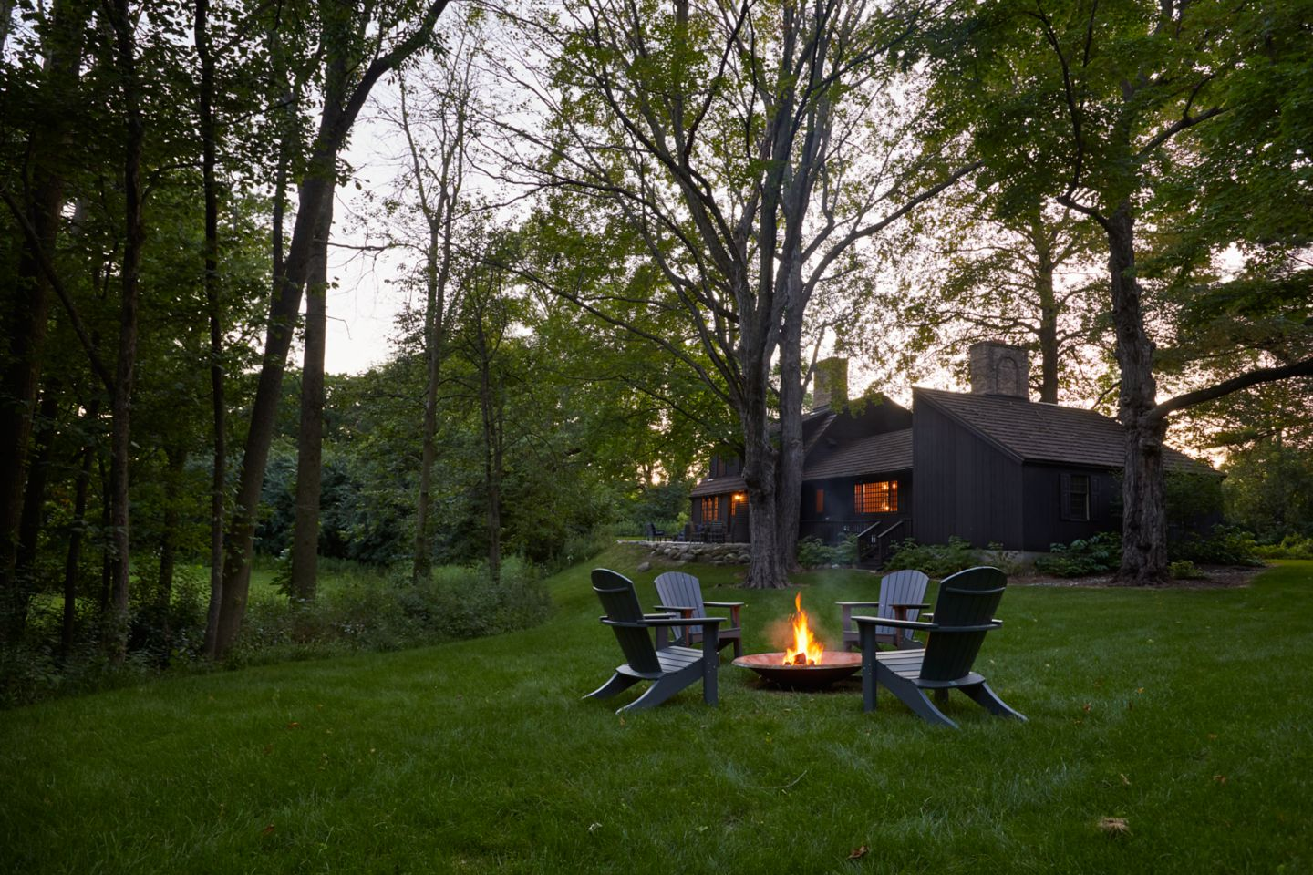 Fire pit in the backyard of Red Fox