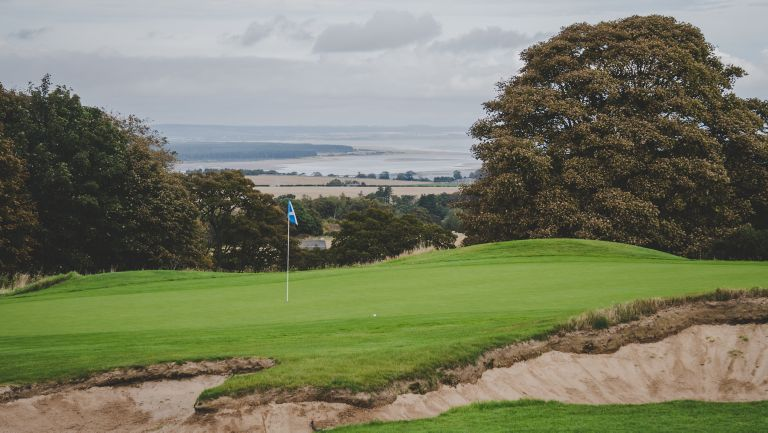 The 6th green of the Duke's Golf Course looking out towards Carnoustie